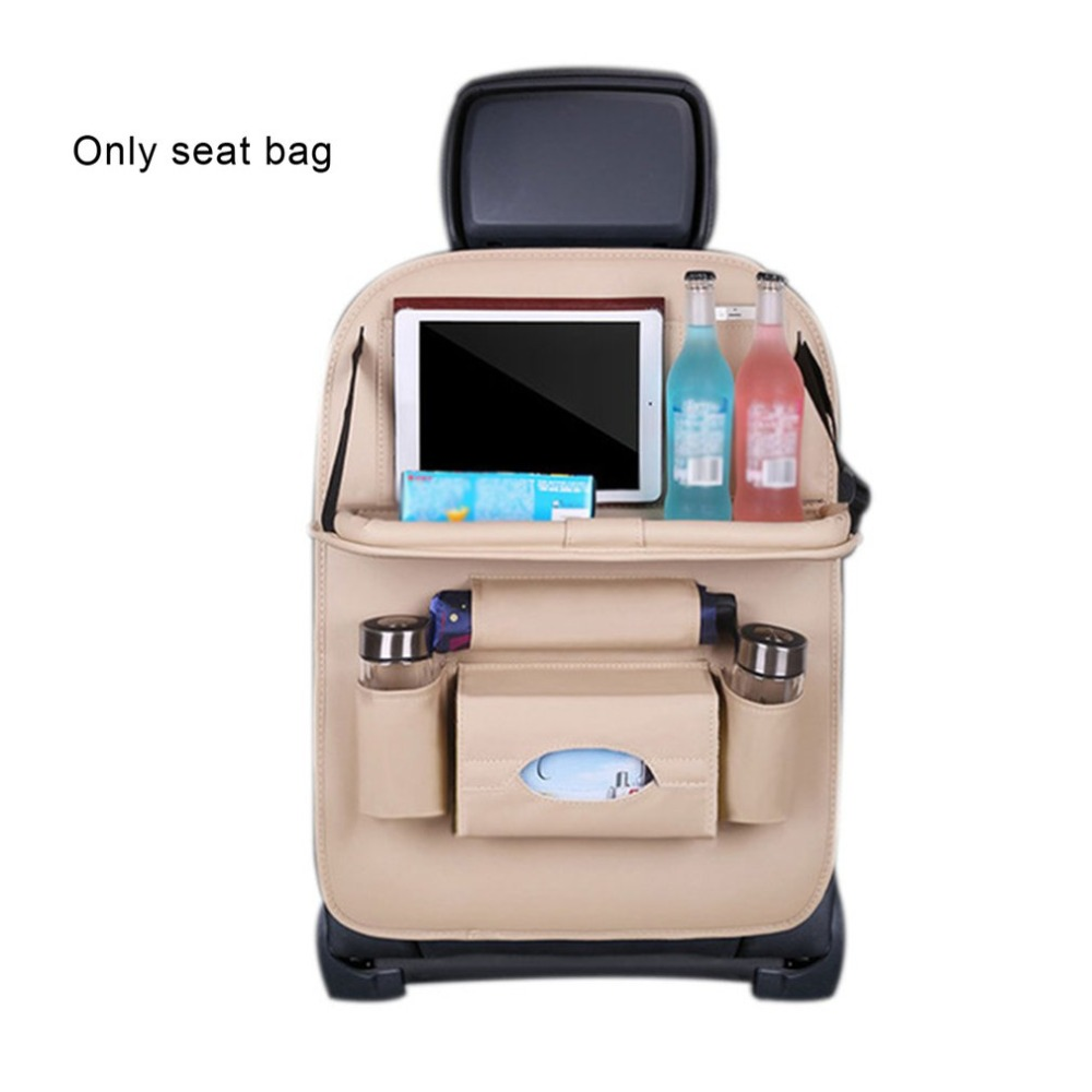 PU Leather Car Seat Back Organiser with Foldable Tray 8