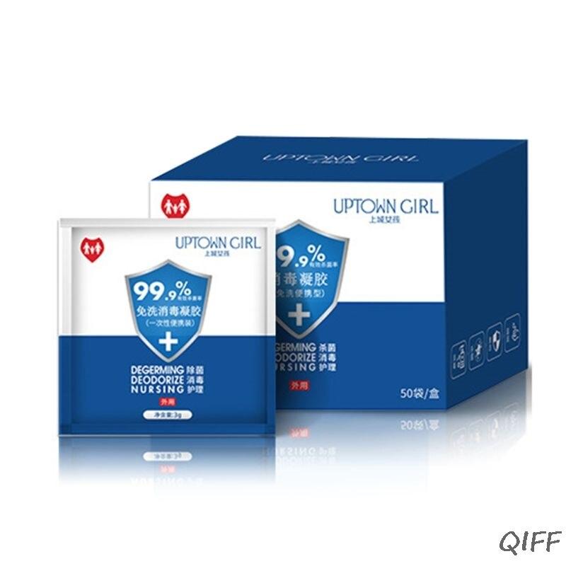 50 Bag Disposable Antibacterial Hand Sanitizer Gel Portable Cleaner Disinfectant