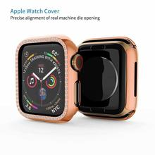 metal diamond protective case for apple watch protect screen series 4 3 2 1 case 38mm 42mm 40mm 44mm iwatch case cover women pc cover case for apple watch 3 2 1 42mm 38mm iwatch series watch case colorful plating full frame protective case armor shell