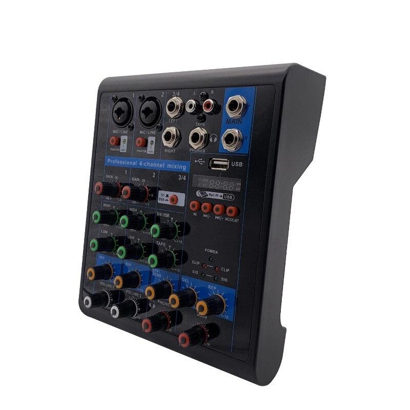 Professional 4-Channel Small Bluetooth Mixer With Reverb Effect Home Karaoke Usb Live Stage Karaoke Performance-Eu Plug