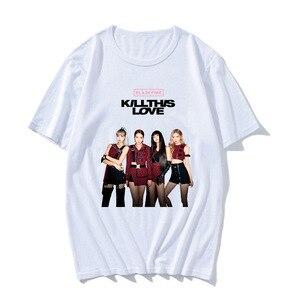 Модная летняя футболка черного и розового цвета для мужчин и женщин, топы с принтом Kill This Love, короткий рукав, для мальчиков и девочек, подрост...