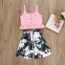 Girls Summer Clothes Solid Sleeveless Vest Shirt Floral Elastic Shorts Pants Set Kids Outfits For Girls Casual Clothes Ropa Niño(China)