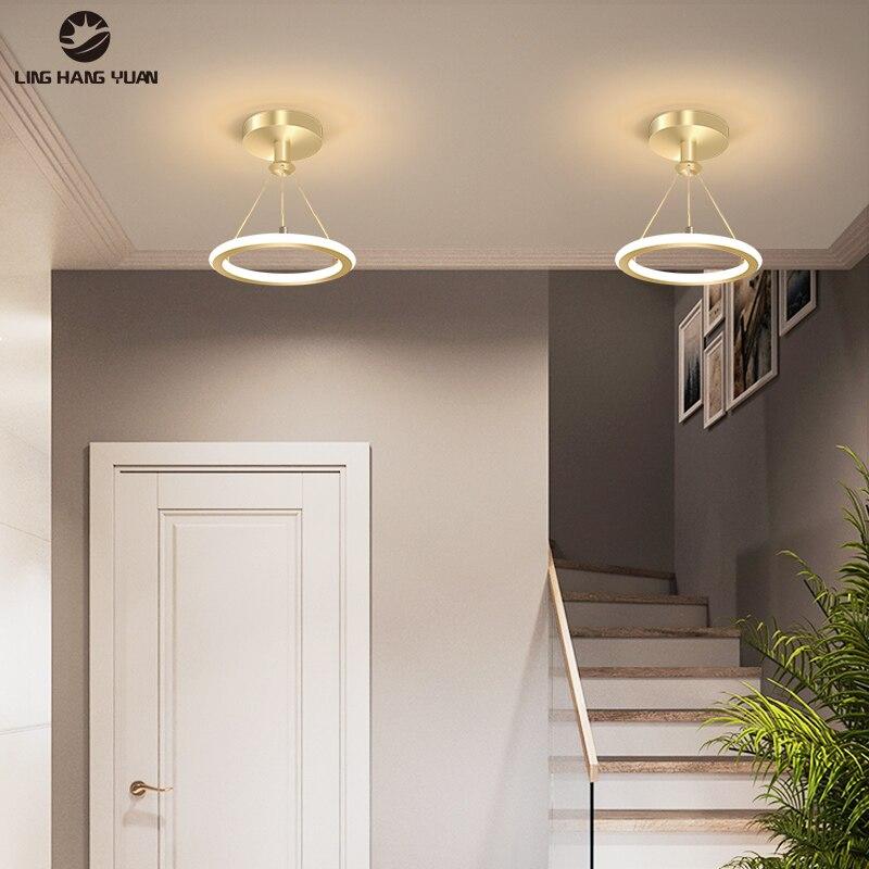 Gold Black LED Chandeliers Modern Aisle Lights Ceiling Chandeliers Lighting for Living Room Bedroom Corridor Light Stairway Lamp