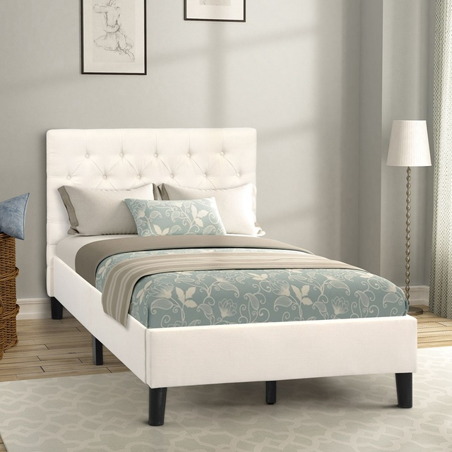 Twin Size Upholstered Bed Frame  1
