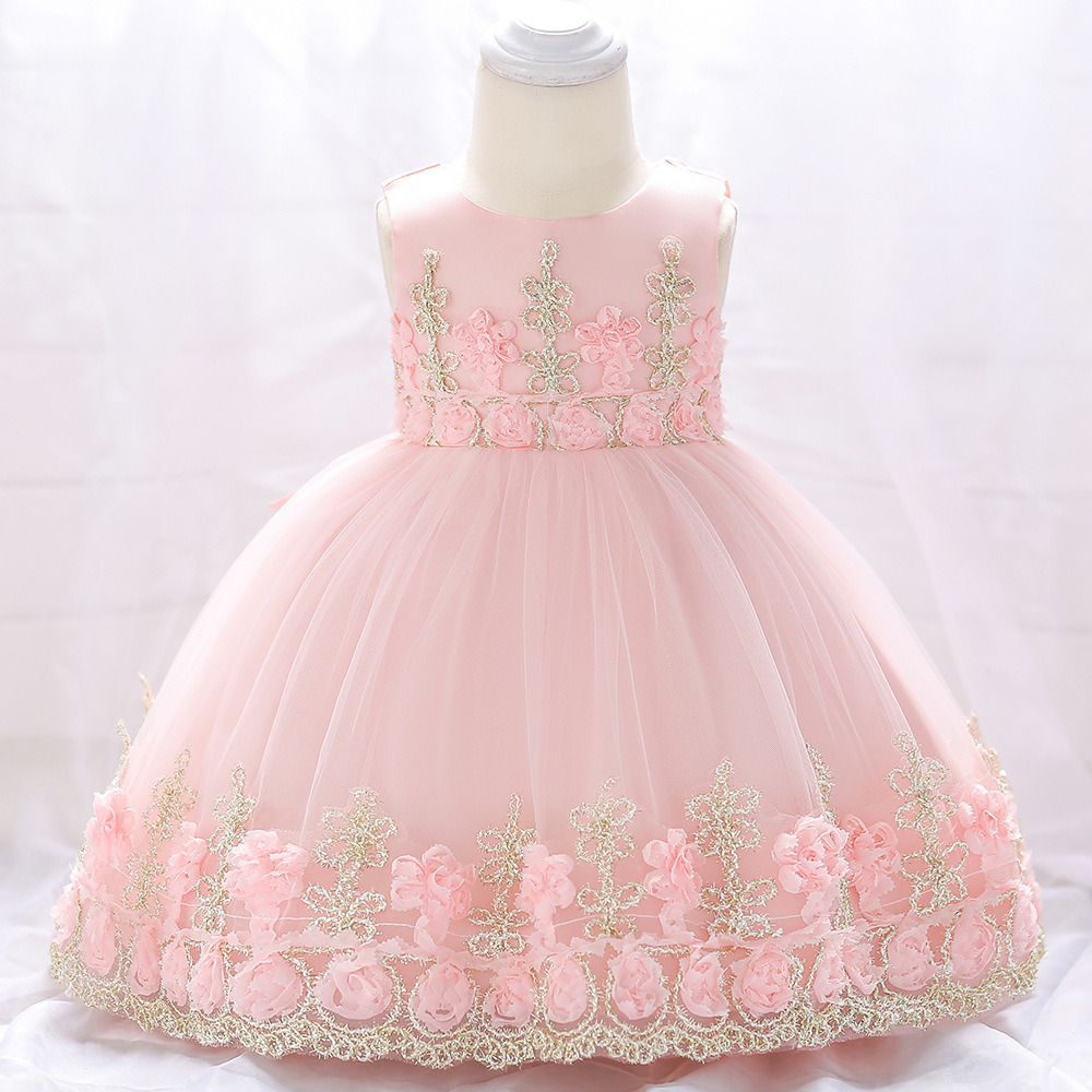 2019 Europe And America New Style Infant A Year Of Age Formal Dress Cotton Lining Embroidery Flowers Baby Birthday Gift Cross Bo