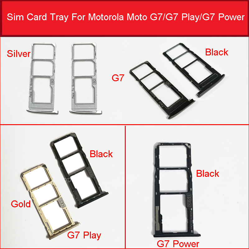 Sim Card Tray Holder Slot For Motorola Moto G7 Play Power Sim Micro Reader Card Adapters Card Socket Repair Replacement Parts