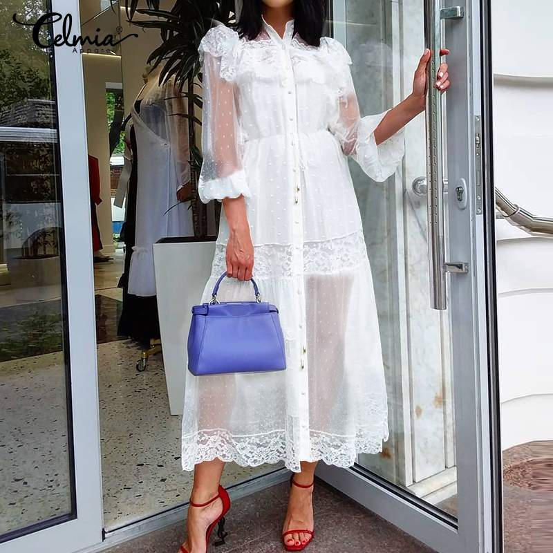 Sexy See-through Party Dress Women Celmia 2020 Summer Lace Ruffles Dresses Beach Cover Up Casual Smock Vestidos Robe Plus Size