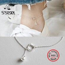 S'STEEL Small Kitty Bell 925 Sterling Silver Bracelet Anklet For Women Handmade Tobillera De Plata De Ley Mujer fine jewelry