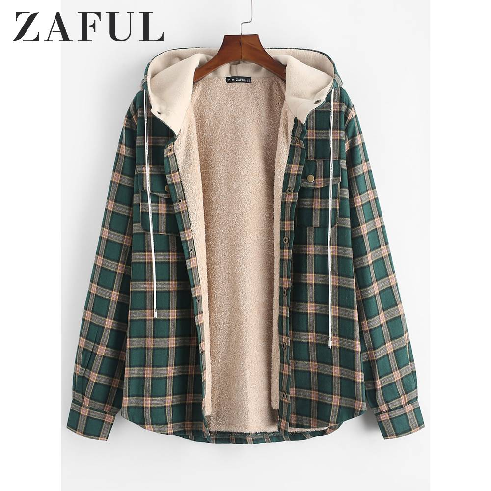 ZAFUL Winter Jacket Men Hoodie Plaid Chest Pocket Fleece Hooded Jacket For Men Long Sleeves Grid Print Streetwear Classic Tops