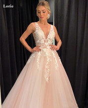 LORIE Champagne Wedding Dress V Neck 3D Appliqued A-Line Bride Dresses FLoor Length Sexy Gown 2020