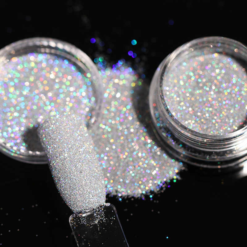 1Box Gray Gradient Shiny Nail Glitter Powder Laser Sparkly Nail Art Chrome Pigment Silver DIY Nail Art Decoration