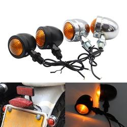 12V motocykl uniwersalny 1 para Mini Retro światła  kierunkowskazy motocyklowe 1 przewodowe bursztynowe światło wskaźniki motocyklowe migacze -
