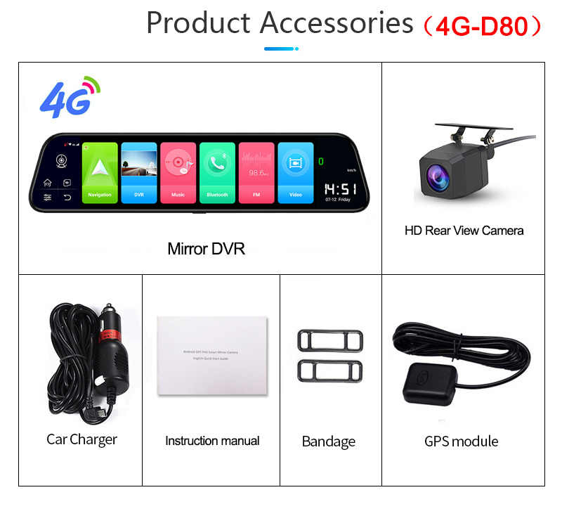 جديد 12 بوصة 4G ADAS أندرويد سيارة كاميرا DVR تدفق مرآة الرؤية الخلفية 1080P واي فاي لتحديد المواقع داش كام مسجل فيديو خاص