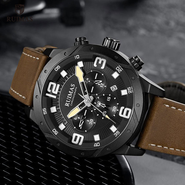 RUIMAS Watch Luxury Brown Leather 595