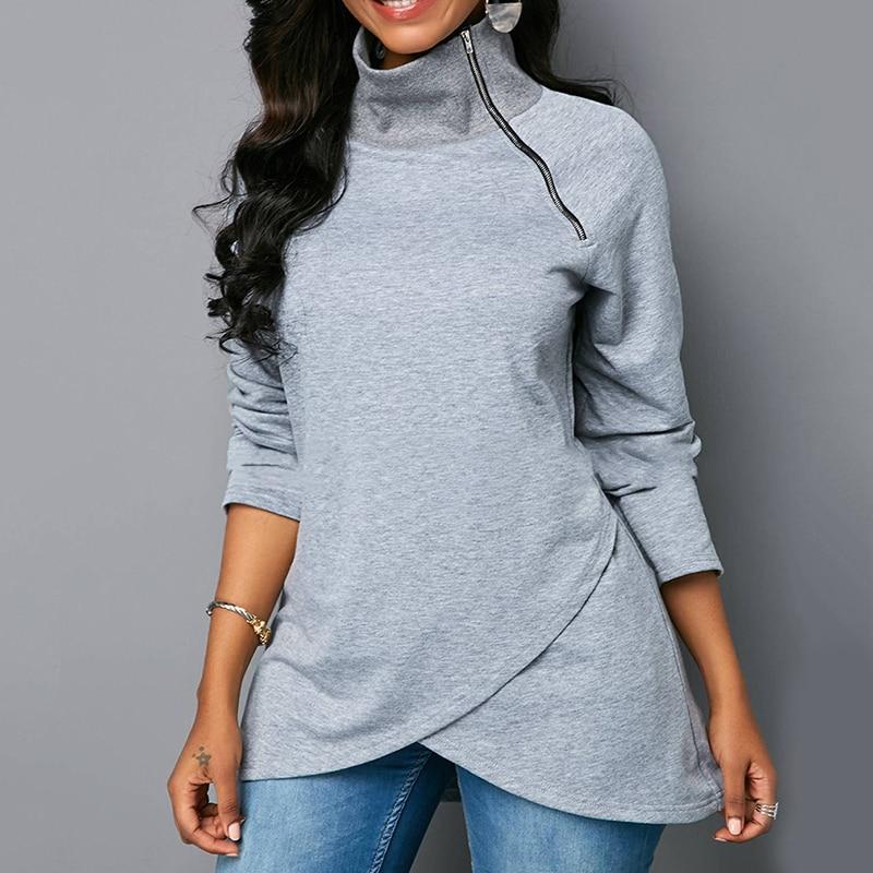 Solid Color Sweatshirt Women Long Zipper Hoodies Female Casual Long Sleeve Pullovers Ladies Turtleneck Fit Irregular Sweatshirts