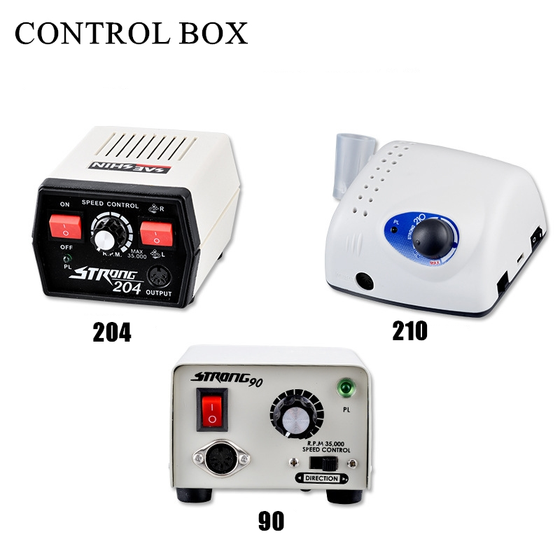 Strong 210 Power Control Box For 102L 105L Micro Motor Handpiece 65W Manicure Pedicure Machine Electric Nail Drill Pedal Tools