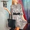 NANKEY Snake Skin Print Dress Women Animal Print Pleated Mini Dress Vintage Fashion Ruffles Dresses Vestidos Mujer 2