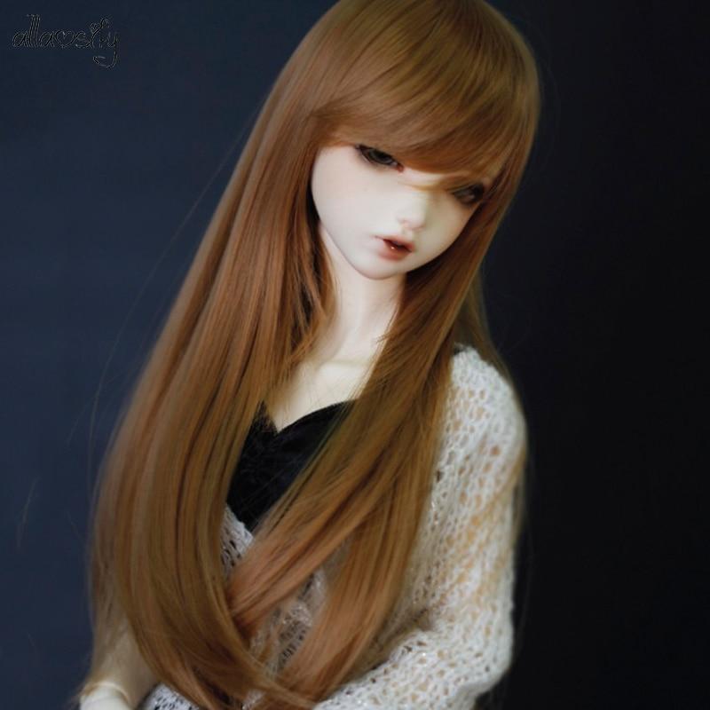 Escala 1/3 1/4 BJD peruca de cabelo preto para BJD/SD boneca acessórios Frete Grátis Allaosify
