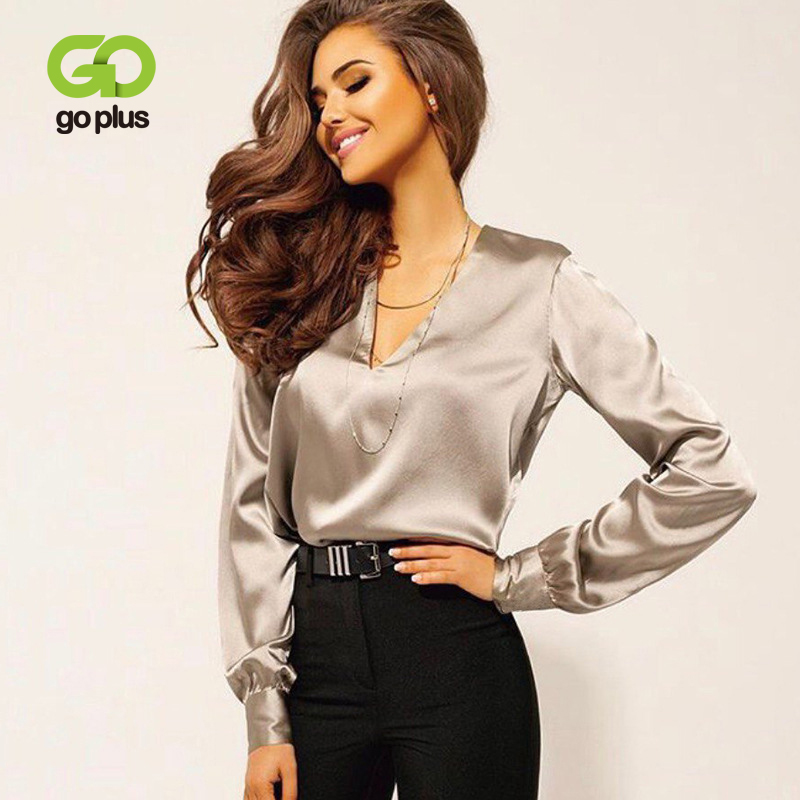 GOPLUS Silk Women's Blouse Sexy V-neck Long Sleeve Plus Size Vintage Shirt Ropa Mujer Blusas Mujer De Moda 2020 Womens Tops title=