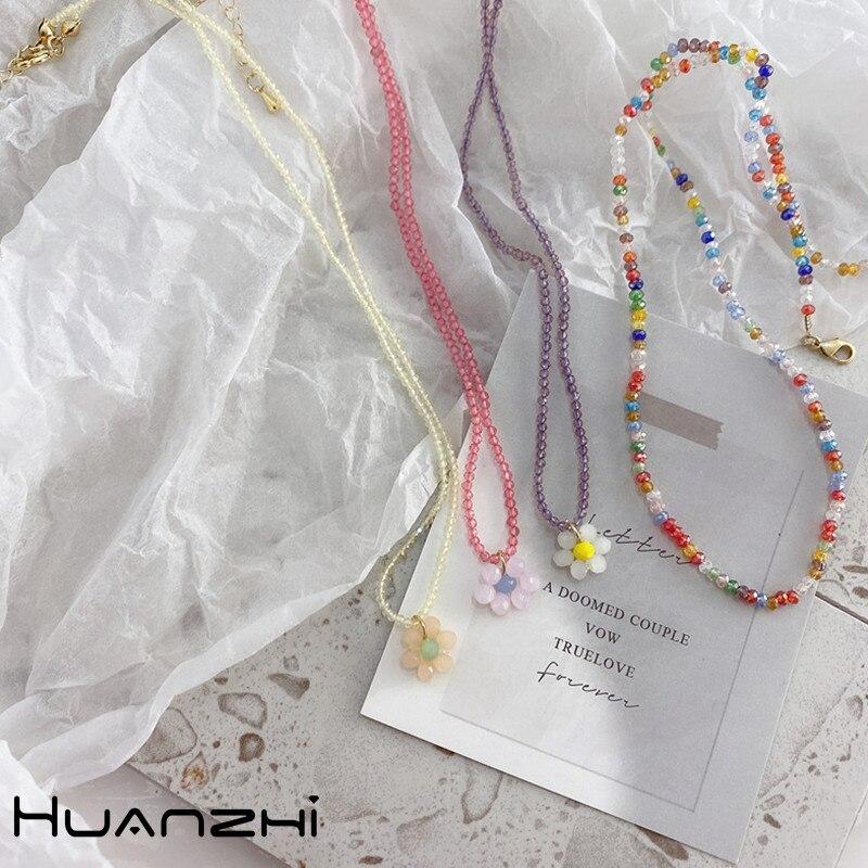 HUANZHI, новинка 2020, корейский милый цвет, акриловая бабочка, цветок, кулон, бисер, ожерелье для женщин, украшения для вечеринки