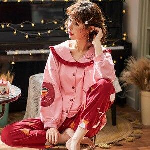 Image 3 - 2019 inverno pijamas feminino coreano 2 pçs pijamas conjunto de pijama femme manga longa algodão kawaii plus size pijamas mujer sleep lounge