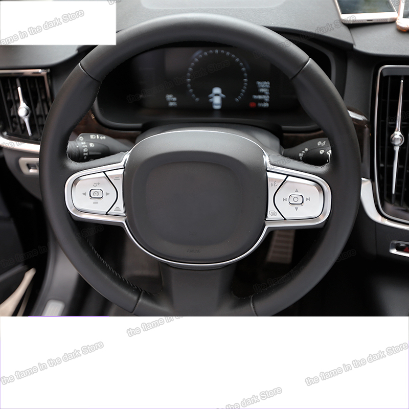 lsrtw2017 black abs car steering wheel button trims for <font><b>volvo</b></font> <font><b>xc60</b></font> 2017 2018 <font><b>2019</b></font> image