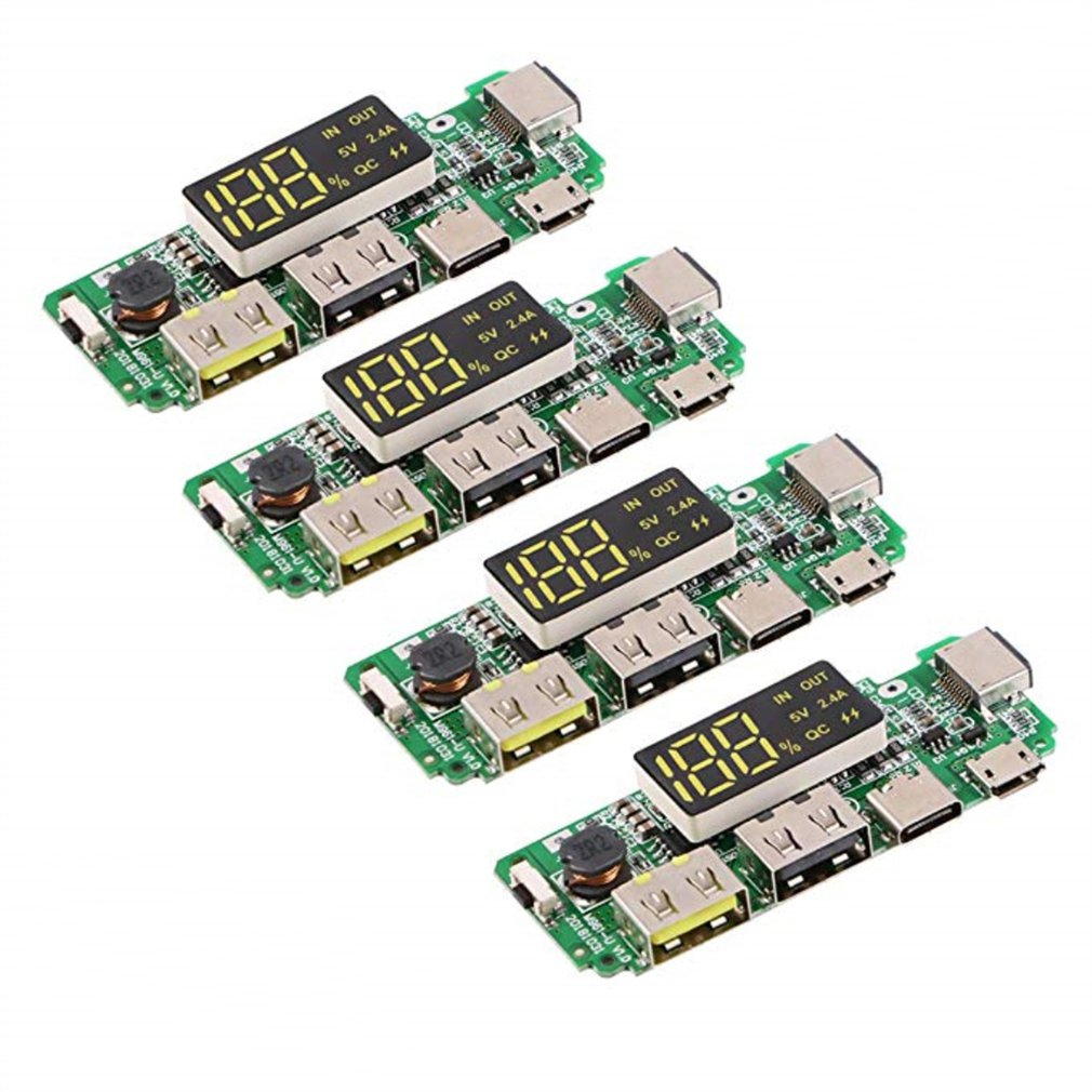 4pcs 18650 Battery Charger Protection Module Mobile Power PCB Module Board Dual USB 5V 1A 2.1A With BMS Protection