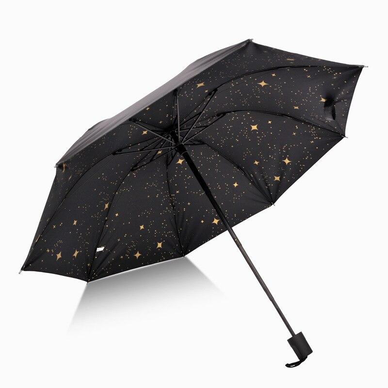 Stars Parasol 8 Bone Manual Long Handle Outer Vinyl UV-Protection Inner Exquisite Yin Hua San CN