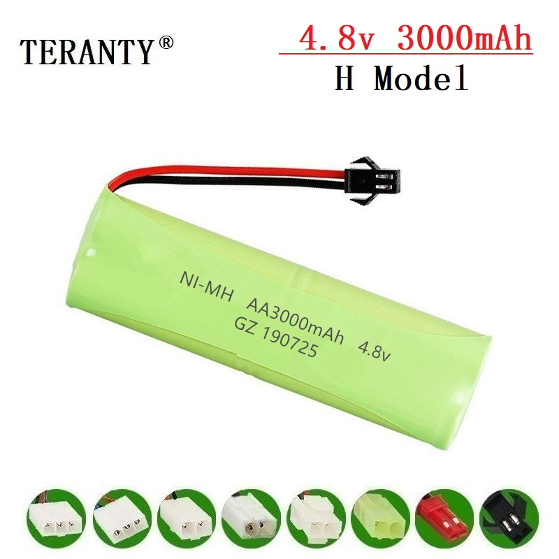 ( H Model ) 4.8v 3000mah NiMH Battery For Rc Toys Cars Tanks Robots Boats Guns 4.8v Rechargeable Battery 4* AA Battery Pack 1-10