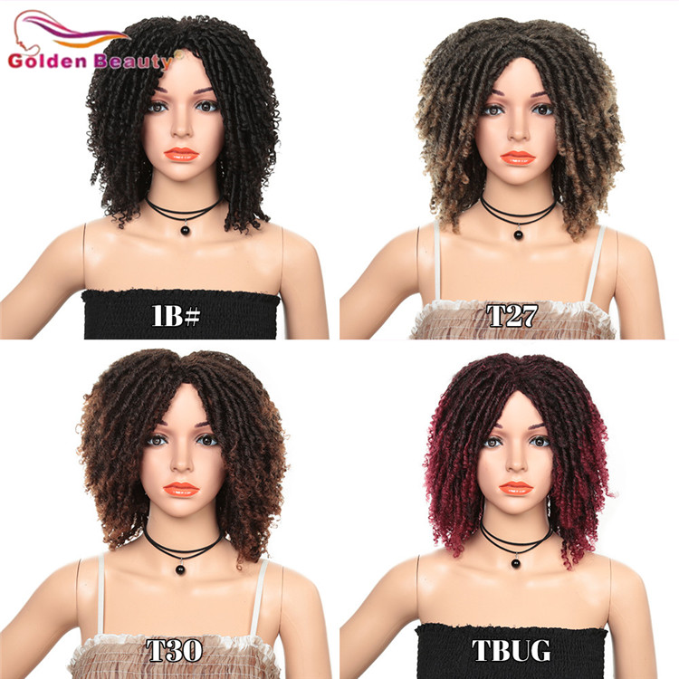 Image 4 - 14inch Short Wigs for Black Women Synthetic Dreadlocs Hair Wig Ombre Black Bug Crochet Braid Wigs Heat Resistant Golden BeautySynthetic None-Lace  Wigs   -