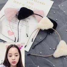 Fashion Cat Ears Headband Novelty Animal Hairy Trendy Bezel for C ute Hairband Hair Hoop Hairball Headwear Girl Hair Accessories