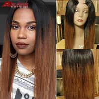 Pelucas de cabello humano para mujer, 1B, 30, sin pegamento, color degradado, parte media de Malasia, Remy, 2x4 '', apertura en U
