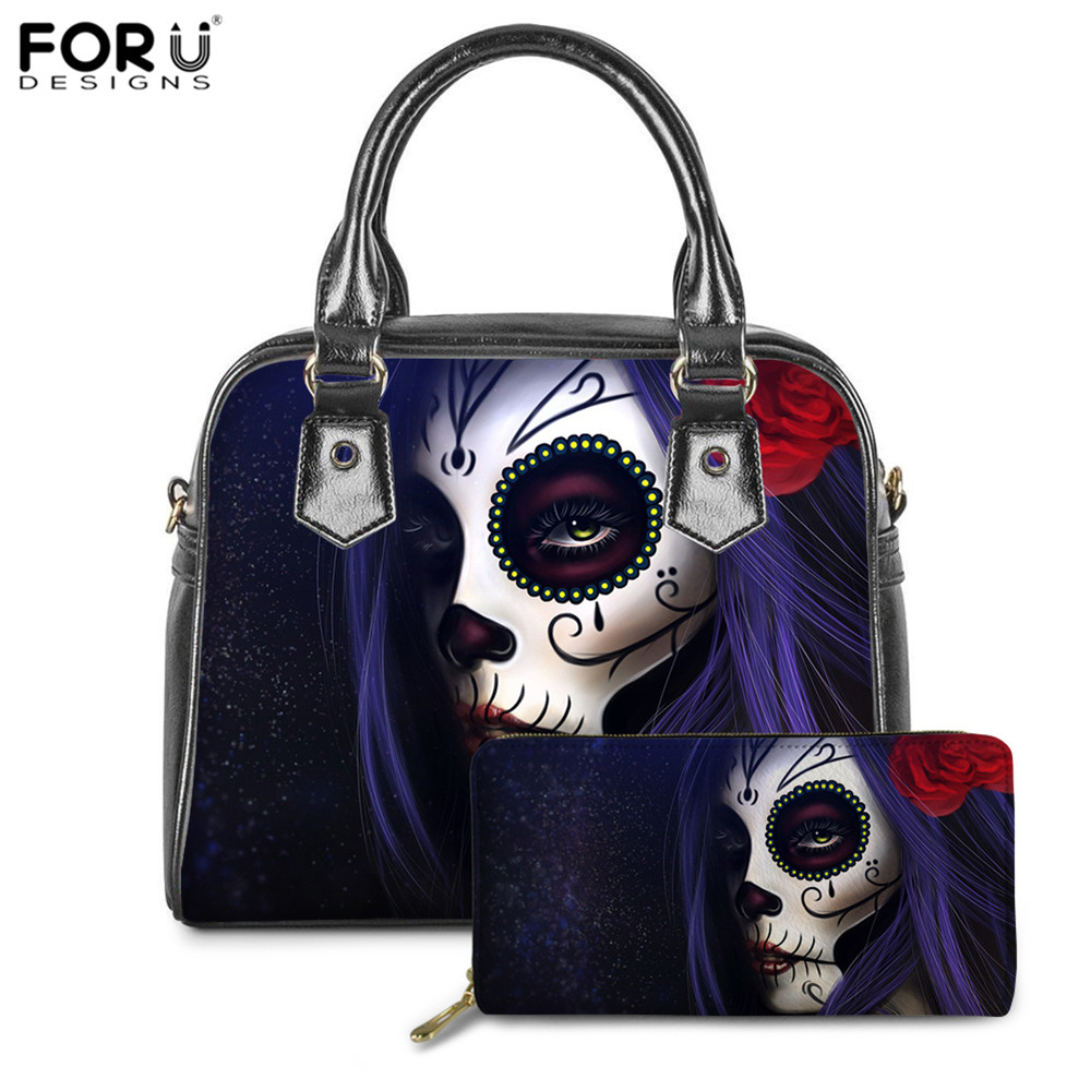 FORUDESIGNS Luxury Handbags Women Bags Brand Designer Gothic Skull Gothic Print 2Set PU Wallets Shoulder Bag Ladies Gothic Bags
