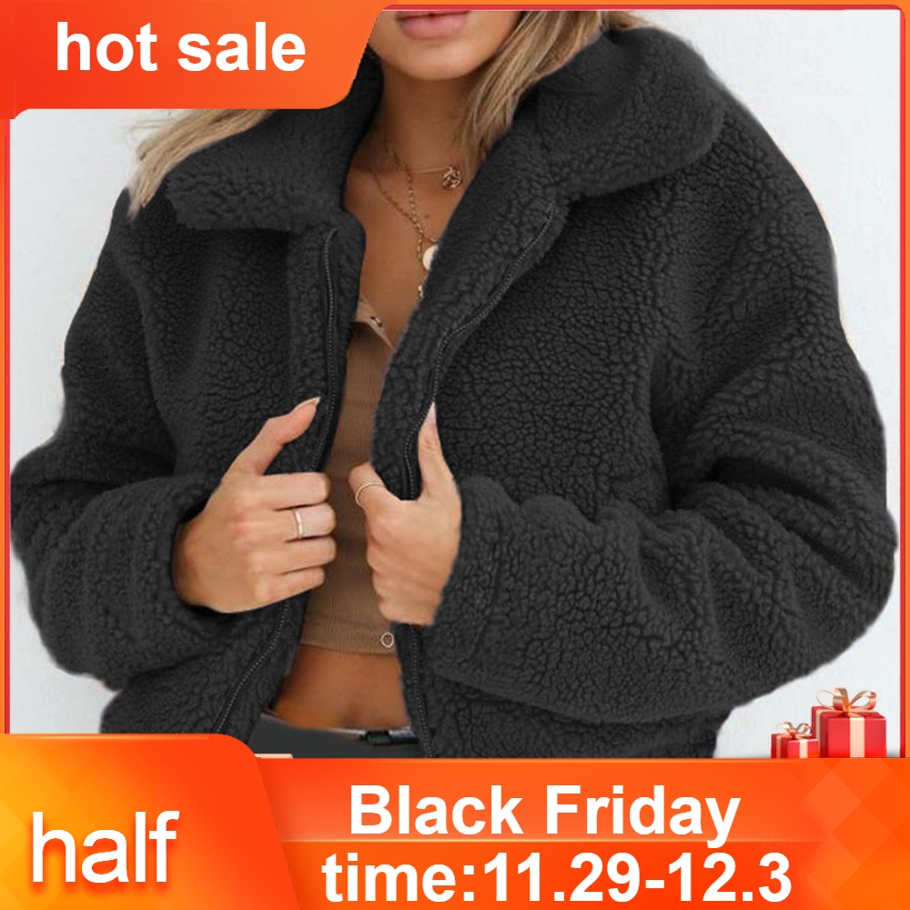 Womens Ladies Warm Artificial Wool Coat Zipper Jacket Winter Parka Outerwear Winter Jacket Women Ropa Mujer Coat  45