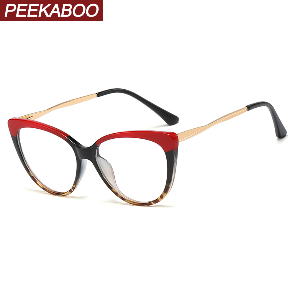 Peekaboo Red Leopard Retro Cat Eye Glasses Frames For Women Half Metal Ladies Optical Glasses Transparent Fashion Accessories