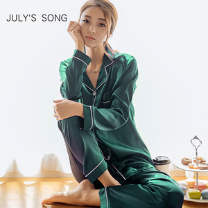 JULY'S SONG 2 Pieces Faux Silk Satin Pajamas Set Autumn Women Sleepwear Long Sleeve Nightgown for Female Ladies Pyjamas
