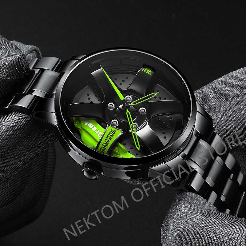 Nektom masculino roda de carro relógio moda à prova dwaterproof água esporte relógio de quartzo masculino malha com aro hub relógio de corrida quartzo