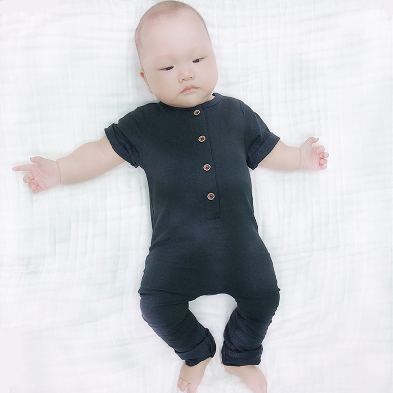 COSPOT <font><b>Baby</b></font> Boys Girls <font><b>Rompers</b></font> Newborn Summer Short-Sleeved Jumpsuit Solid Black Gray Pajamas for Newborns 2020 New Fashion 40 image