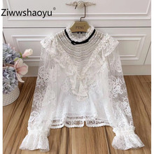 Ziwwshaoyu Sexy Lace Transparent White Blouse Elegant Flare Sleeve Autumn Female Designer Shirts 2019 New