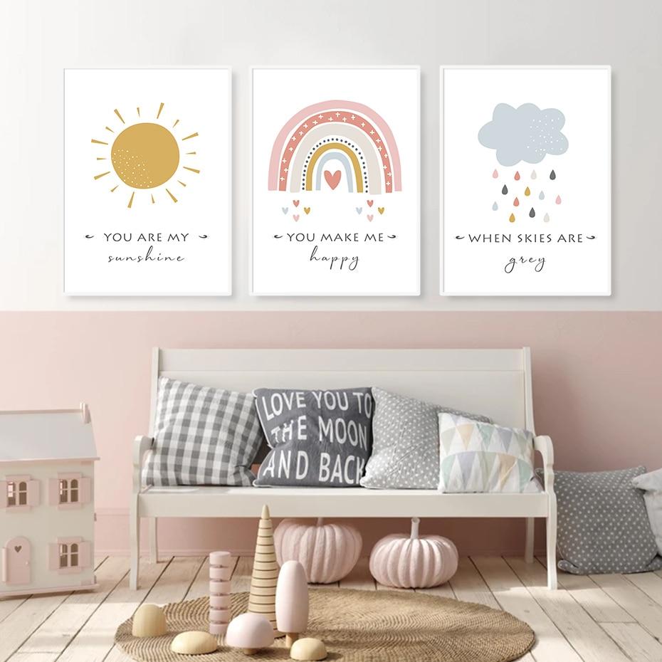 Мультяшное солнце облако Радуга декор для детской комнаты холст живопись настенные картины плакаты печать для детской комнаты домашний де...