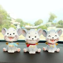 car ornaments nodding lovely resin shaking head interior decorations accessories for vehicle decorating cars Shaking Head Doll Car Decoration Car Ornament Cartoon Resin Ornaments Doll Small Flying Mouse Auto Interior Funny Car Ornaments
