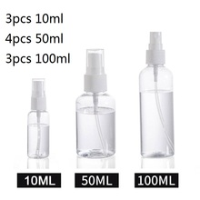10Pcs Transparent Empty Spray Bottles 10ml/50ml/100ml Plastic Mini Refillable Container Empty Cosmetic Containers