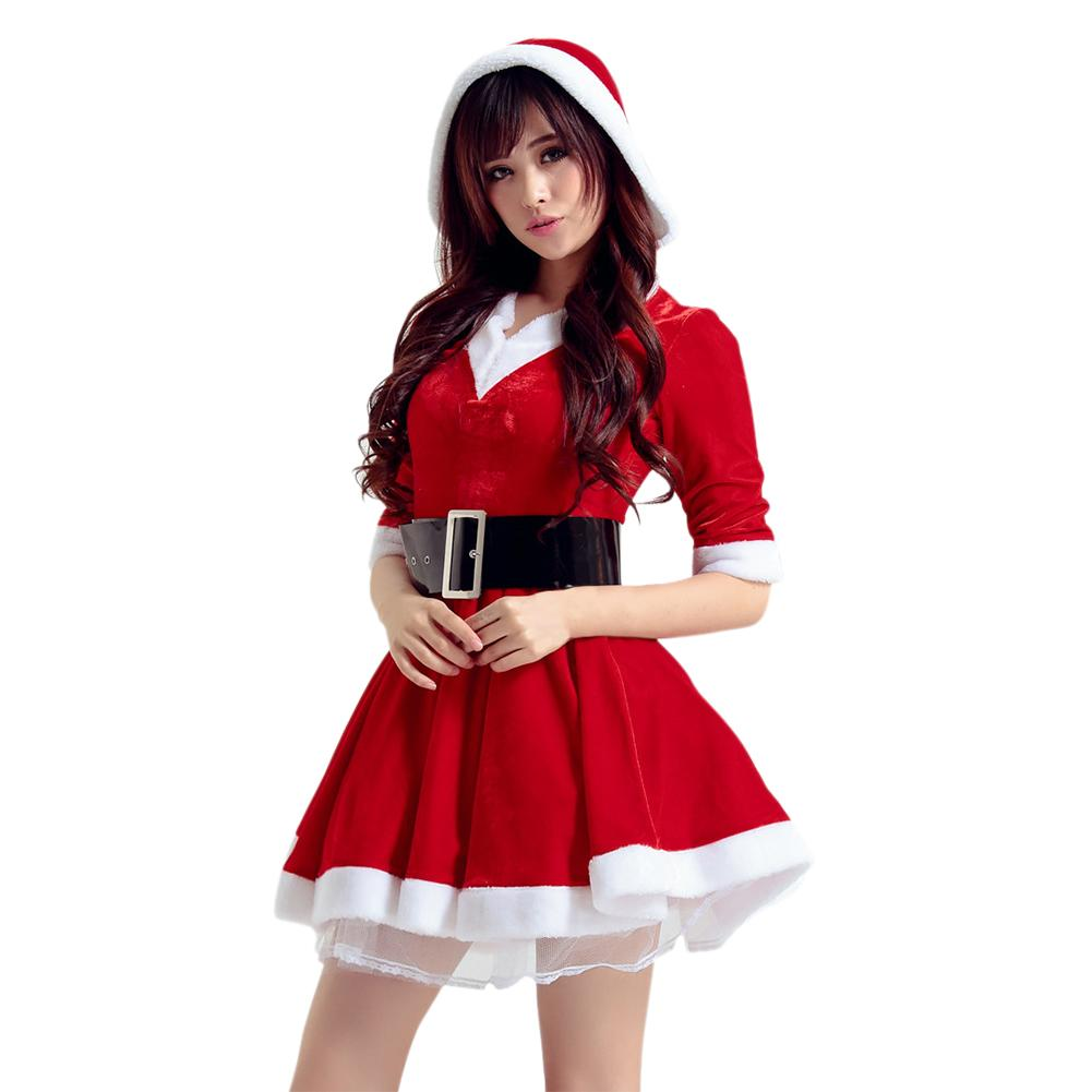 Christmas Hooded Dress With Belt Sexy Women's Christmas Costume Santa Costume Short Sleeve Plush Warm Hooded Fancy Pleated Dress