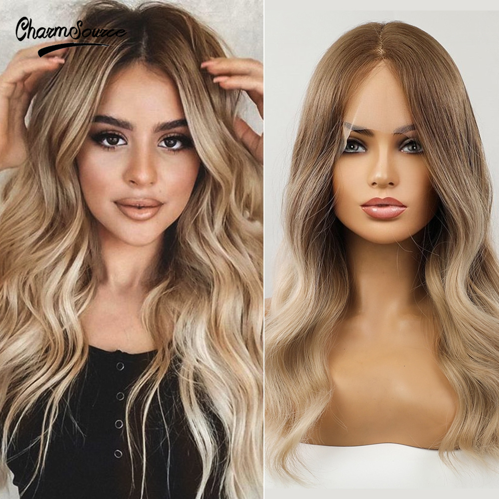 CharmSource Lace Front Wigs Long Wavy Hair Brown Ombre Blonde Daily Party Wig for White Black Women High Density Heat Resistant