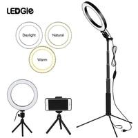 LEDGLE 10 Dimmable Selfie Ring Light 80pcs led beads 10w Photography Photo Fill USB ringlight lamp for makeup & light tripod