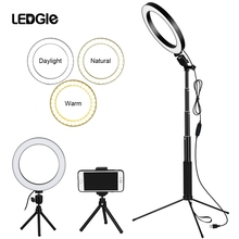 LEDGLE 10  Dimmable Selfie Ring Light 80pcs led beads 10w Photography Photo Fill USB ringlight lamp for makeup & light tripod