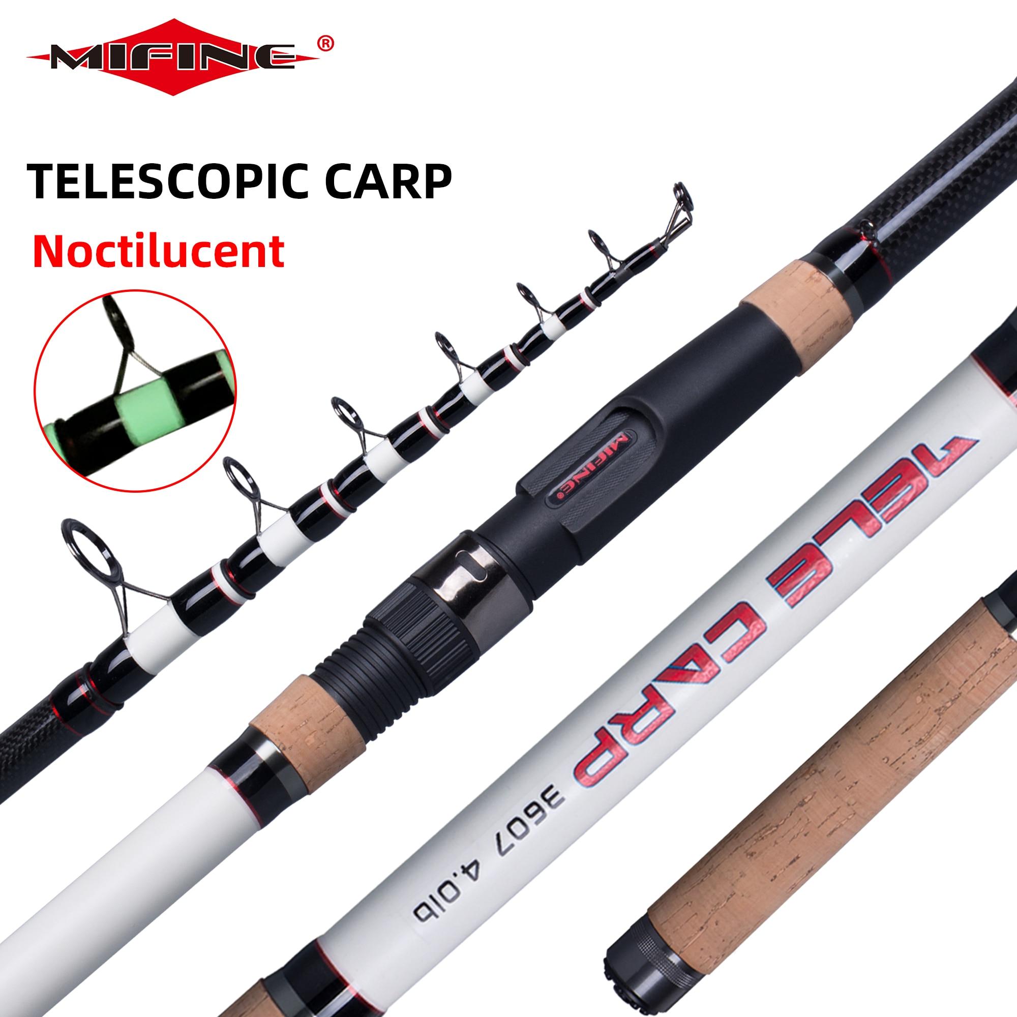 MIFINE caña de pescar telescópica para carpa, 4,0 lb 3,9/3,6/3,3/3,0/2,7 m, caña giratoria para Surf de fibra de carbono, potencia 60 200g, Polo duro noctilucente|Cañas de pescar|   - AliExpress