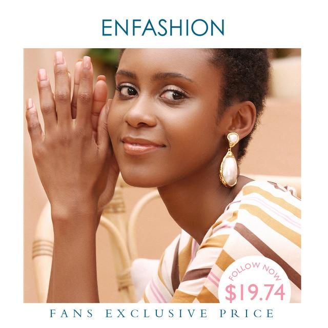 Enfashionヴィンテージ大きな巻き貝女性ゴールドカラーナチュラル母の真珠のイヤリングファッションジュエリーoorbellen E191024