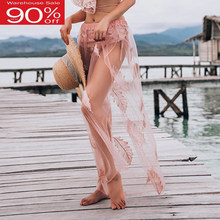 Pink Mesh Beach Cover Up Maxi Skirt 2020 Summer Women Vocation 20cm Long Bottom Clothing(China)
