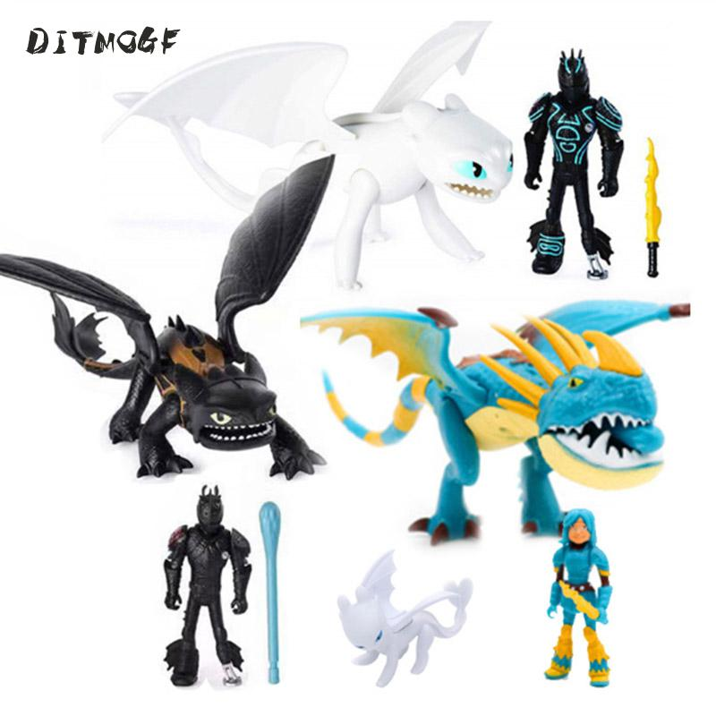 New 1 Set Cartoon Dragon Action Figures Launch Weapons Activity Of Joints And Wings PVC Model Kid Gift Toy